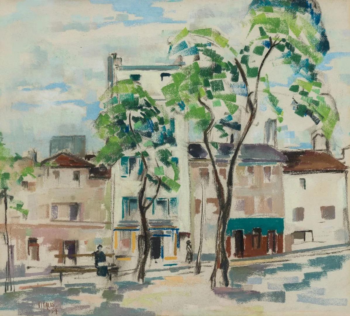 1929-3-Sur-le-banc-rue-animée