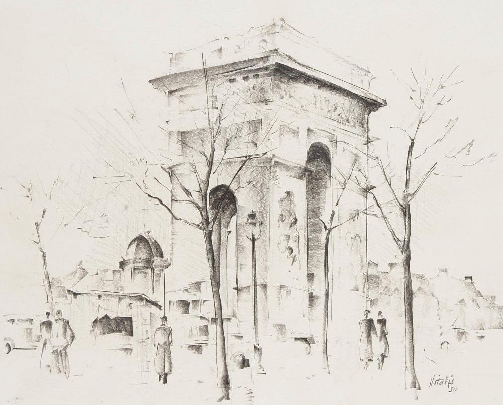 1950-5-Paris-la-Place-de-l-Etoile-et-l-Arc-de-Triomphe