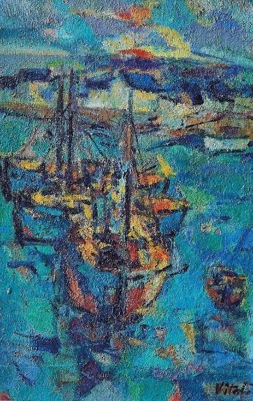 1969-6-Les-barques-devant-le-village-de-pêcheurs